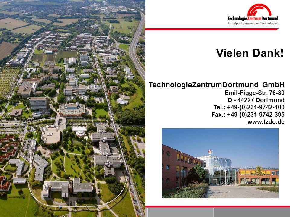 TechnologieZentrumDortmund GmbH Emil-Figge-Str. 76-80 D - 44227 Dortmund Tel.: +49-(0)231-9742-100 Fax.: +49-(0)231-9742-395 www.tzdo.de Vielen Dank!