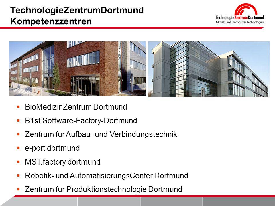 TechnologieZentrumDortmund Kompetenzzentren BioMedizinZentrum Dortmund B1st Software-Factory-Dortmund Zentrum für Aufbau- und Verbindungstechnik e-port dortmund MST.factory dortmund Robotik- und AutomatisierungsCenter Dortmund Zentrum für Produktionstechnologie Dortmund