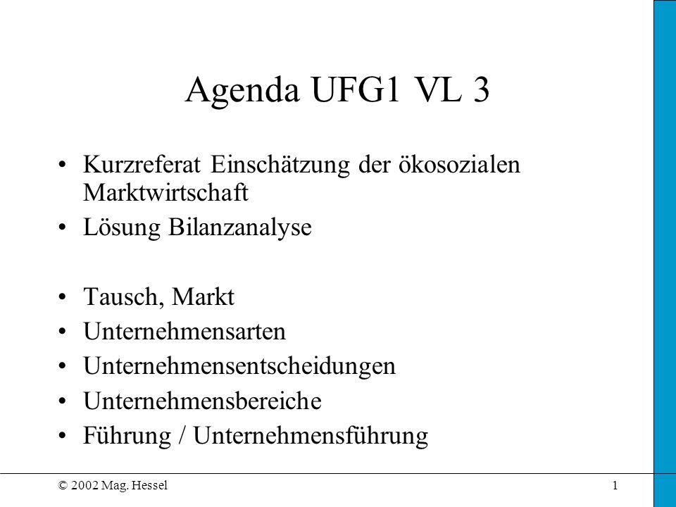 © 2002 Mag. Hessel1 Agenda UFG1 VL 3 Kurzreferat Einschätzung der ökosozialen Marktwirtschaft Lösung Bilanzanalyse Tausch, Markt Unternehmensarten Unt
