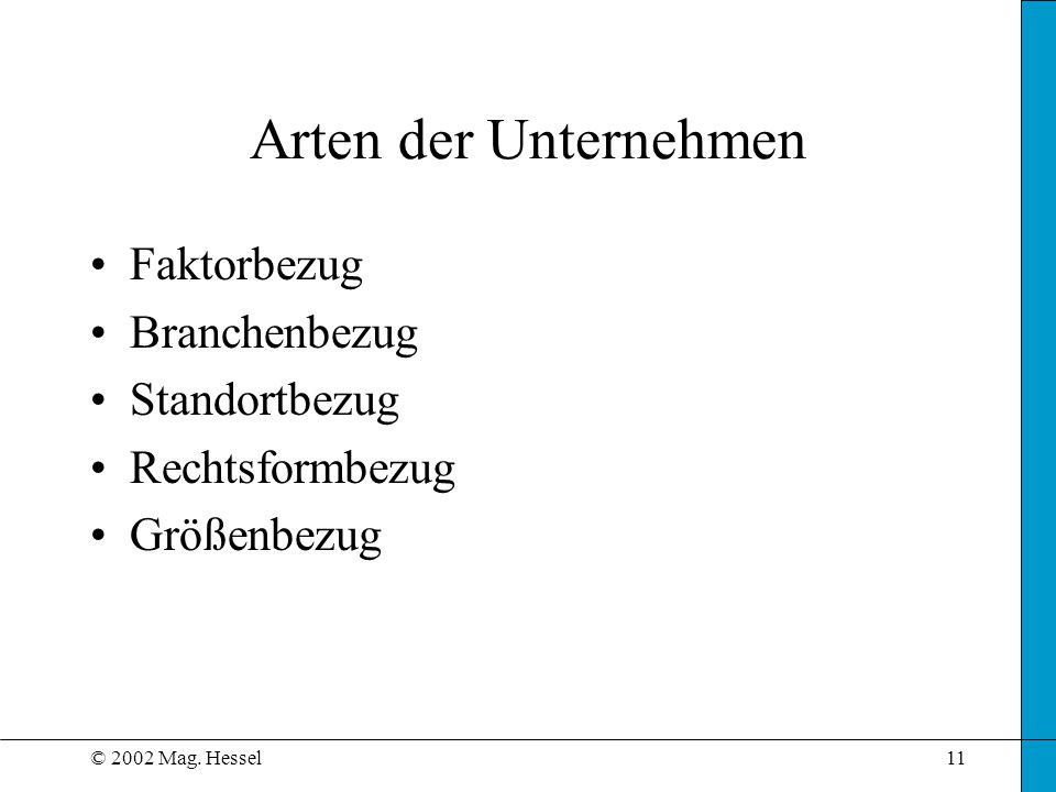 © 2002 Mag. Hessel11 Arten der Unternehmen Faktorbezug Branchenbezug Standortbezug Rechtsformbezug Größenbezug