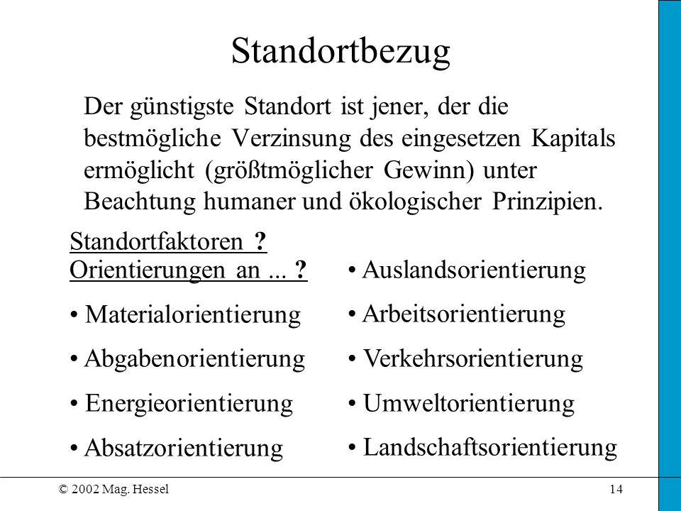 © 2002 Mag. Hessel14 Standortbezug Der günstigste Standort ist jener, der die bestmögliche Verzinsung des eingesetzen Kapitals ermöglicht (größtmöglic