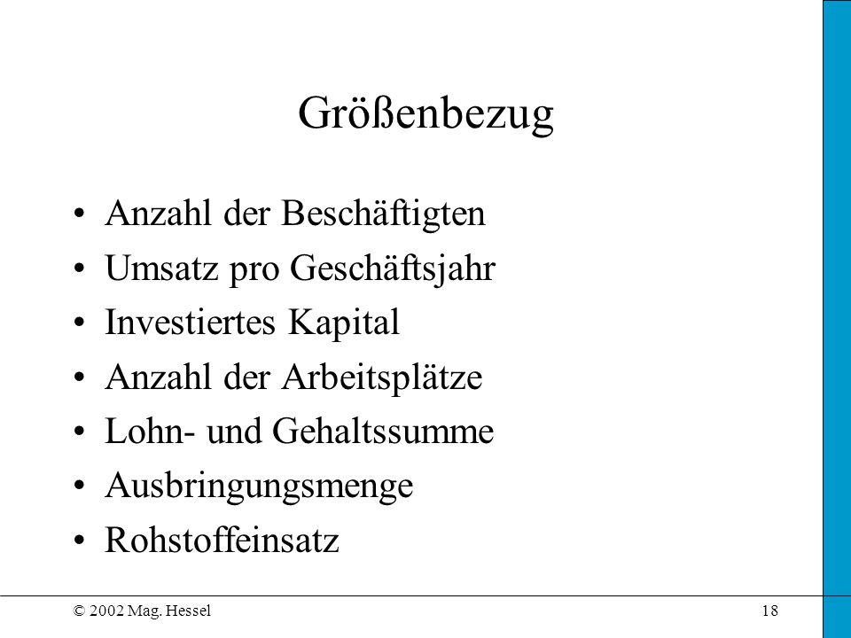 © 2002 Mag. Hessel18 Größenbezug Anzahl der Beschäftigten Umsatz pro Geschäftsjahr Investiertes Kapital Anzahl der Arbeitsplätze Lohn- und Gehaltssumm