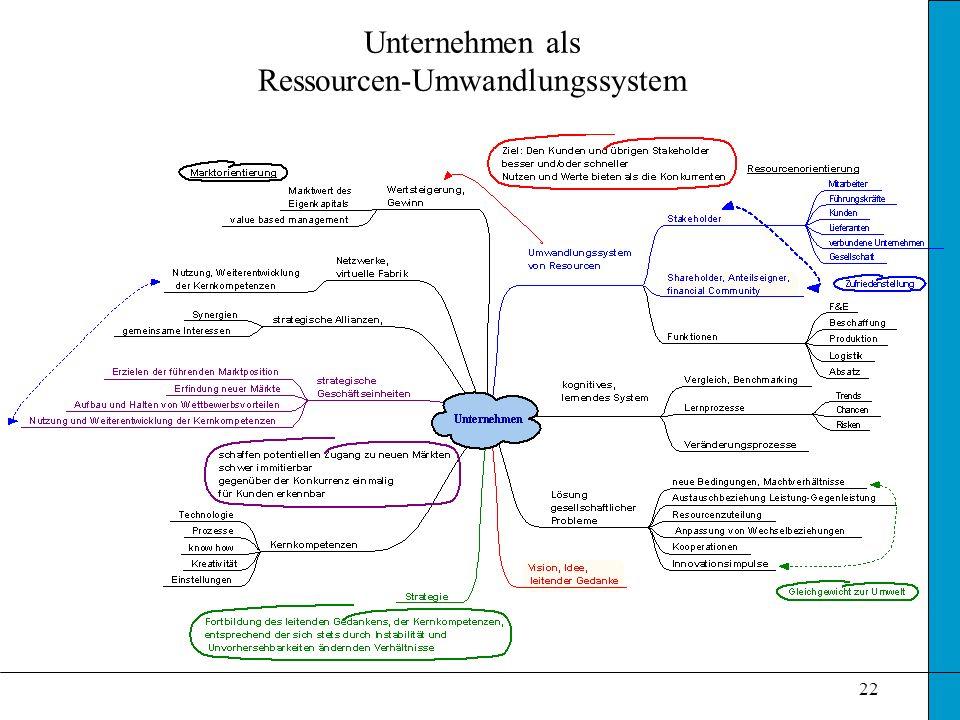 22 Unternehmen als Ressourcen-Umwandlungssystem