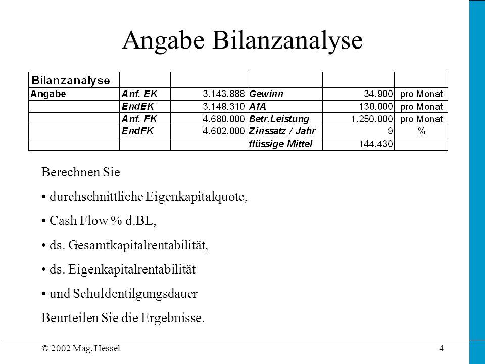 © 2002 Mag. Hessel4 Angabe Bilanzanalyse Berechnen Sie durchschnittliche Eigenkapitalquote, Cash Flow % d.BL, ds. Gesamtkapitalrentabilität, ds. Eigen