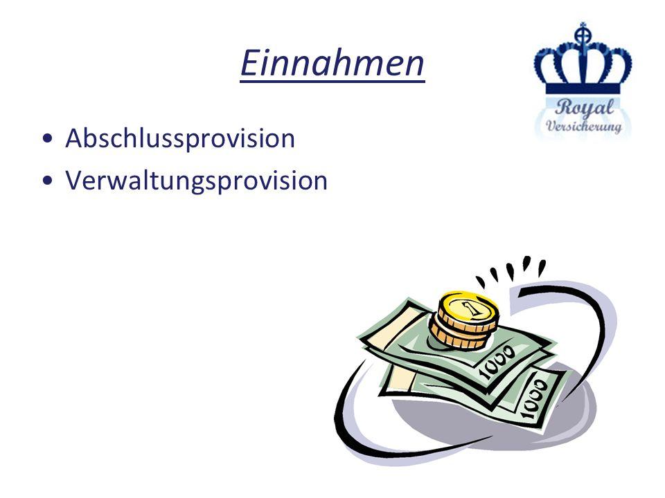 Einnahmen Abschlussprovision Verwaltungsprovision