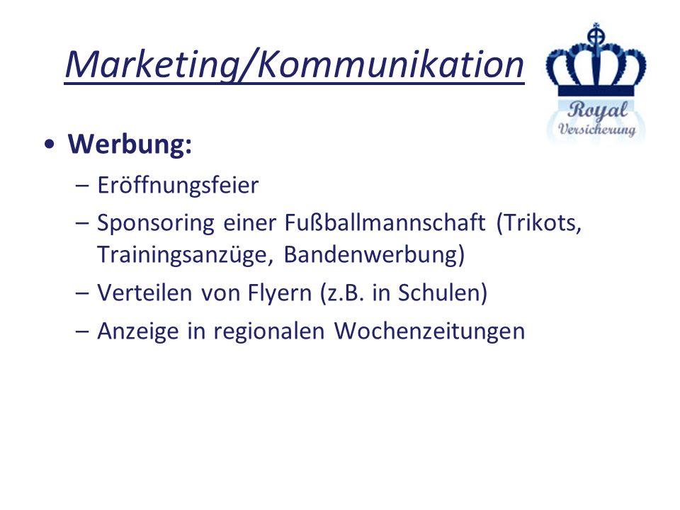 Marketing/Kommunikation Werbung: –Eröffnungsfeier –Sponsoring einer Fußballmannschaft (Trikots, Trainingsanzüge, Bandenwerbung) –Verteilen von Flyern