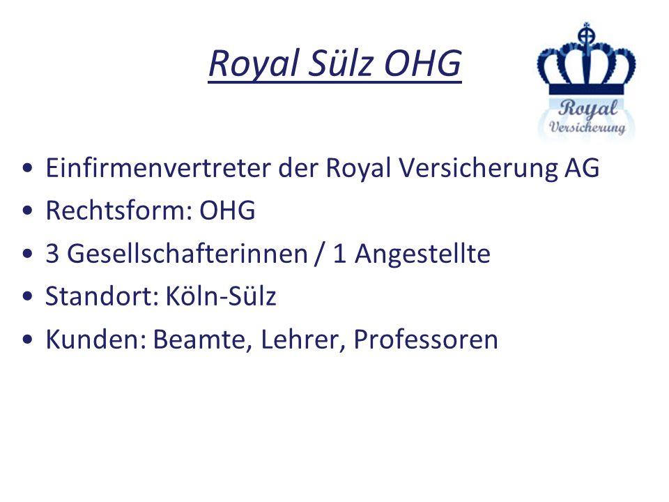 Royal Sülz OHG Einfirmenvertreter der Royal Versicherung AG Rechtsform: OHG 3 Gesellschafterinnen / 1 Angestellte Standort: Köln-Sülz Kunden: Beamte,