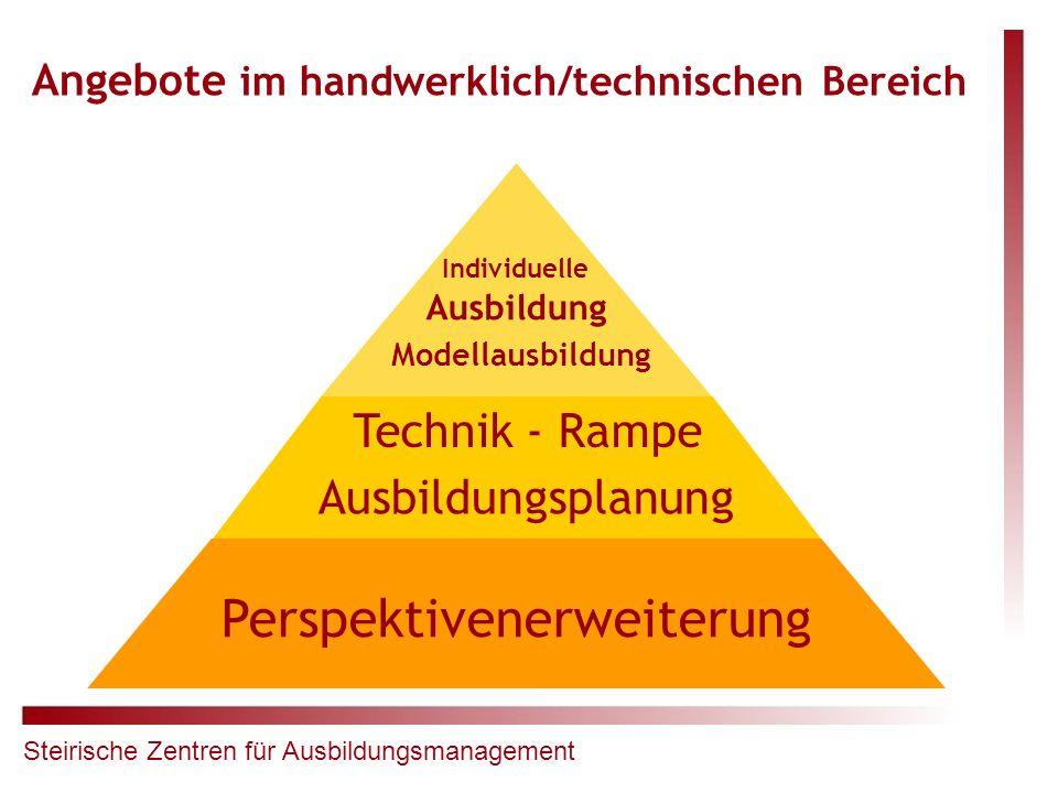 Angebote im handwerklich/technischen Bereich Perspektivenerweiterung Ausbildungsplanung Technik - Rampe Individuelle Ausbildung Modellausbildung