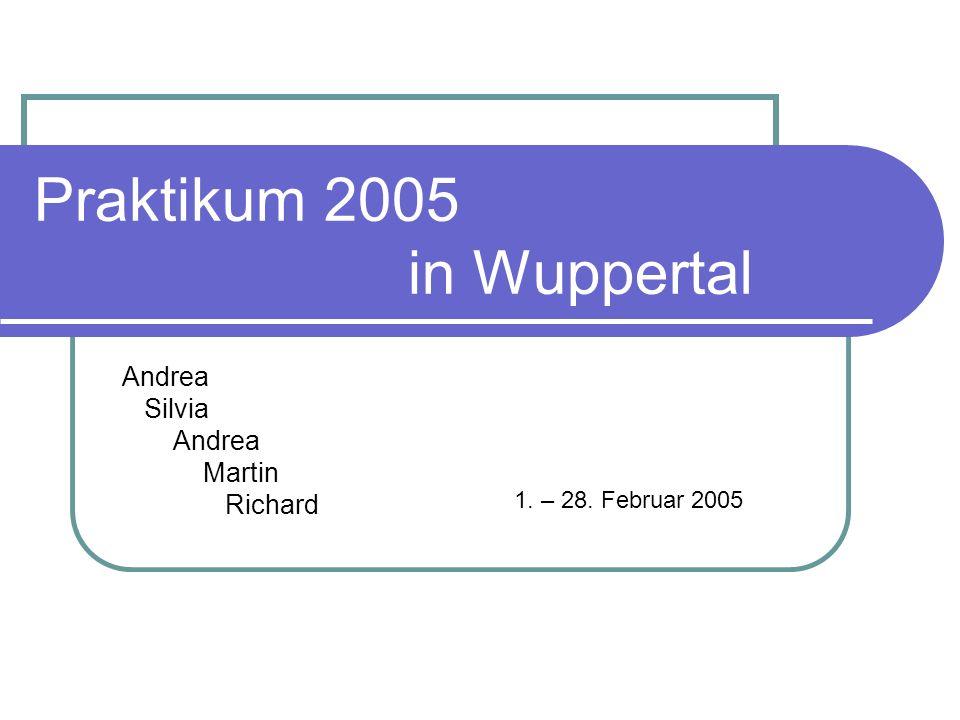 Praktikum 2005 in Wuppertal Andrea Silvia Andrea Martin Richard 1. – 28. Februar 2005
