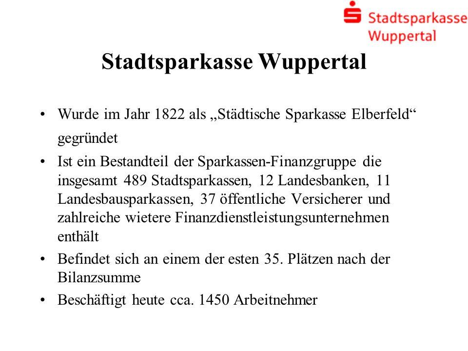 Stadtsparkasse Wuppertal Wurde im Jahr 1822 als Städtische Sparkasse Elberfeld gegründet Ist ein Bestandteil der Sparkassen-Finanzgruppe die insgesamt