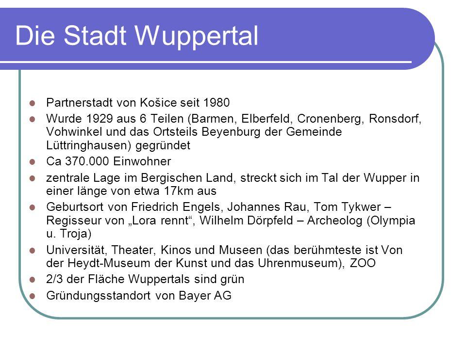 Die Stadt Wuppertal Partnerstadt von Košice seit 1980 Wurde 1929 aus 6 Teilen (Barmen, Elberfeld, Cronenberg, Ronsdorf, Vohwinkel und das Ortsteils Be