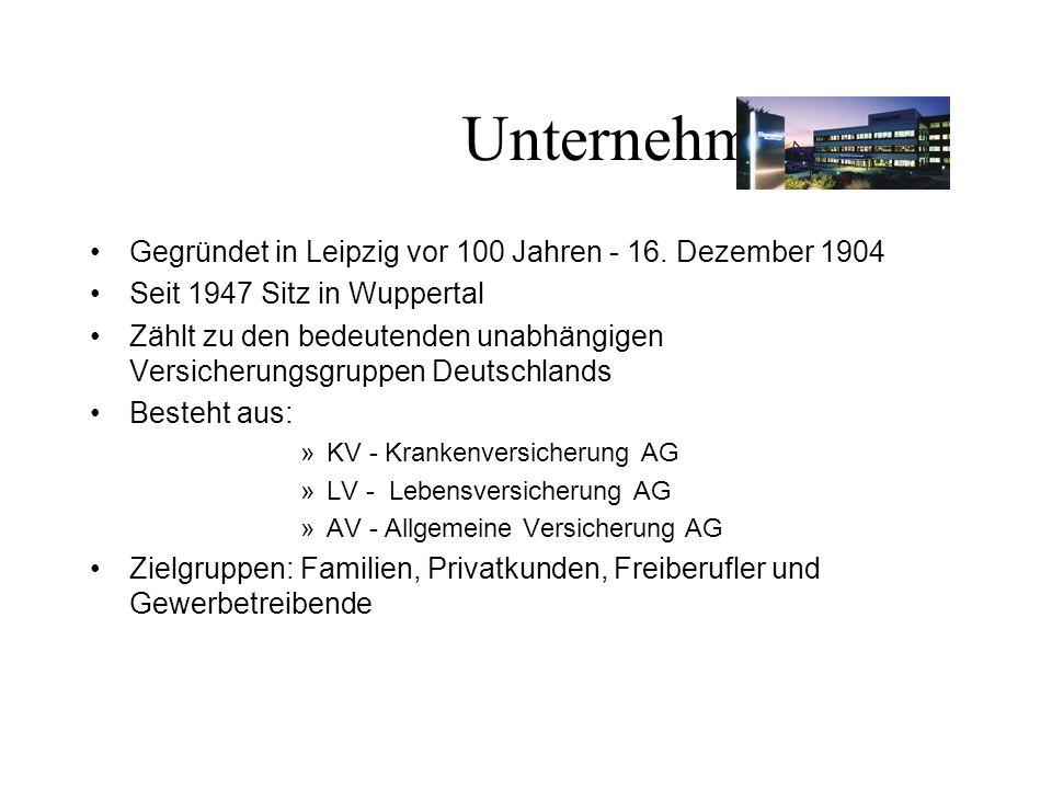 Unternehmen Gegründet in Leipzig vor 100 Jahren - 16. Dezember 1904 Seit 1947 Sitz in Wuppertal Zählt zu den bedeutenden unabhängigen Versicherungsgru