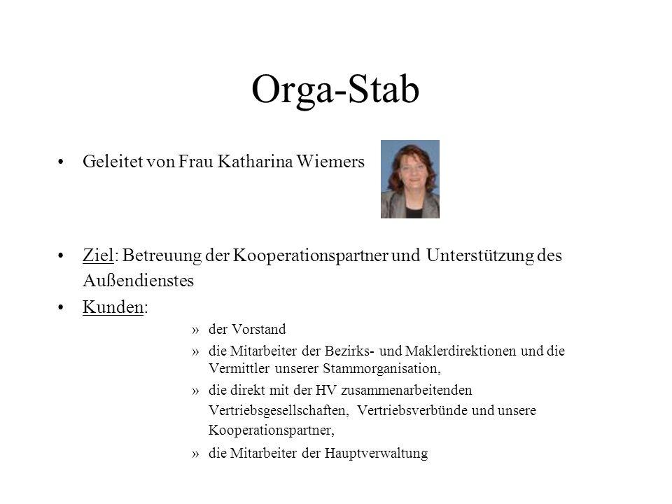 Orga-Stab Geleitet von Frau Katharina Wiemers Ziel: Betreuung der Kooperationspartner und Unterstützung des Außendienstes Kunden: »der Vorstand »die M