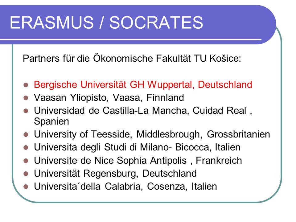 ERASMUS / SOCRATES Partners für die Ökonomische Fakultät TU Košice: Bergische Universität GH Wuppertal, Deutschland Vaasan Yliopisto, Vaasa, Finnland