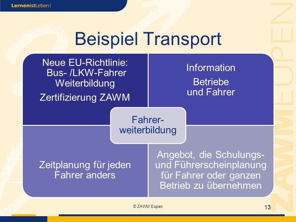 Beispiel Transport Neue EU-Richtlinie: Bus- /LKW-Fahrer Weiterbildung Zertifizierung ZAWM Information Betriebe und Fahrer Zeitplanung für jeden Fahrer anders Angebot, die Schulungs- und Führerscheinplanung für Fahrer oder ganzen Betrieb zu übernehmen Fahrer- weiterbildung 13 © ZAWM Eupen