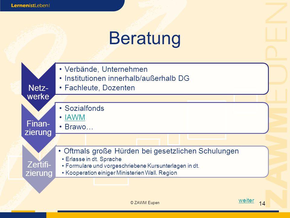 Beratung Netz- werke Verbände, Unternehmen Institutionen innerhalb/außerhalb DG Fachleute, Dozenten Finan- zierung Sozialfonds IAWM Brawo… Zertifi- zi