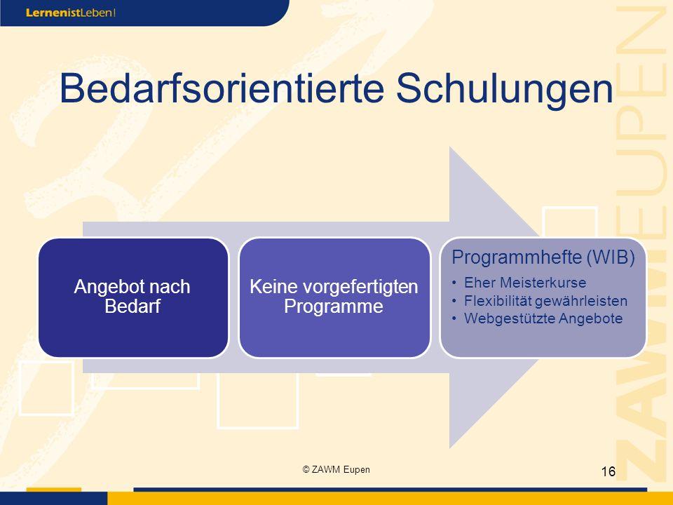 Bedarfsorientierte Schulungen Angebot nach Bedarf Keine vorgefertigten Programme Programmhefte (WIB) Eher Meisterkurse Flexibilität gewährleisten Webg