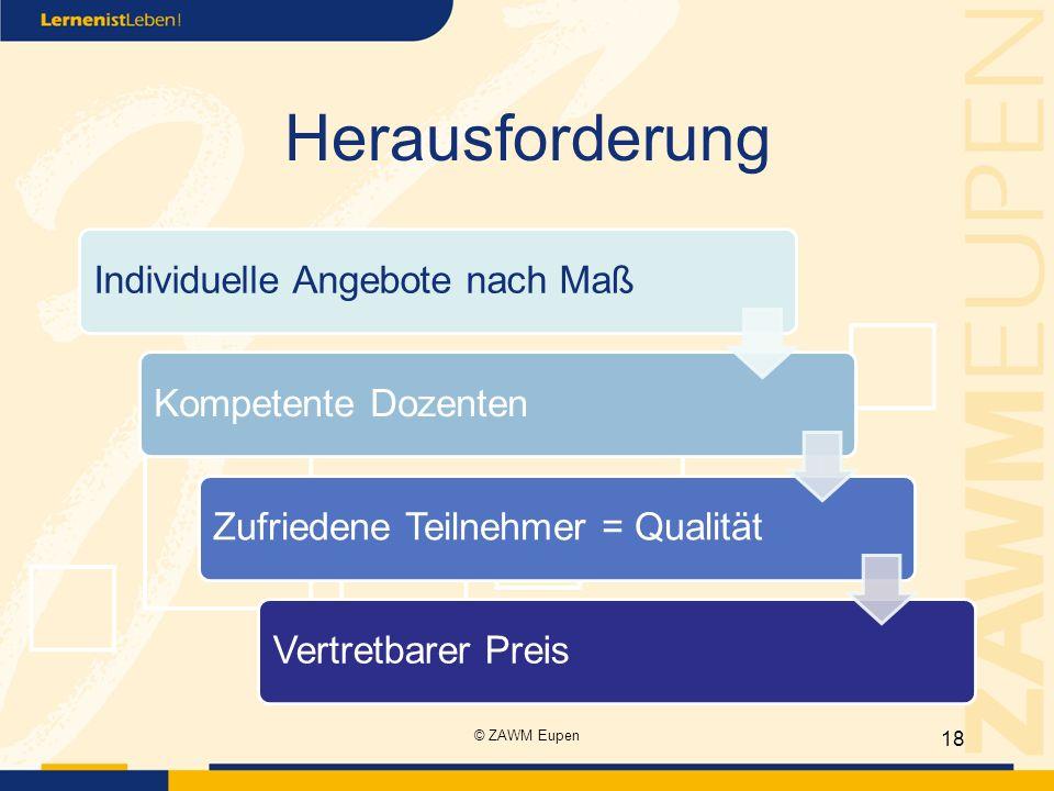 Herausforderung Individuelle Angebote nach MaßKompetente DozentenZufriedene Teilnehmer = QualitätVertretbarer Preis 18 © ZAWM Eupen