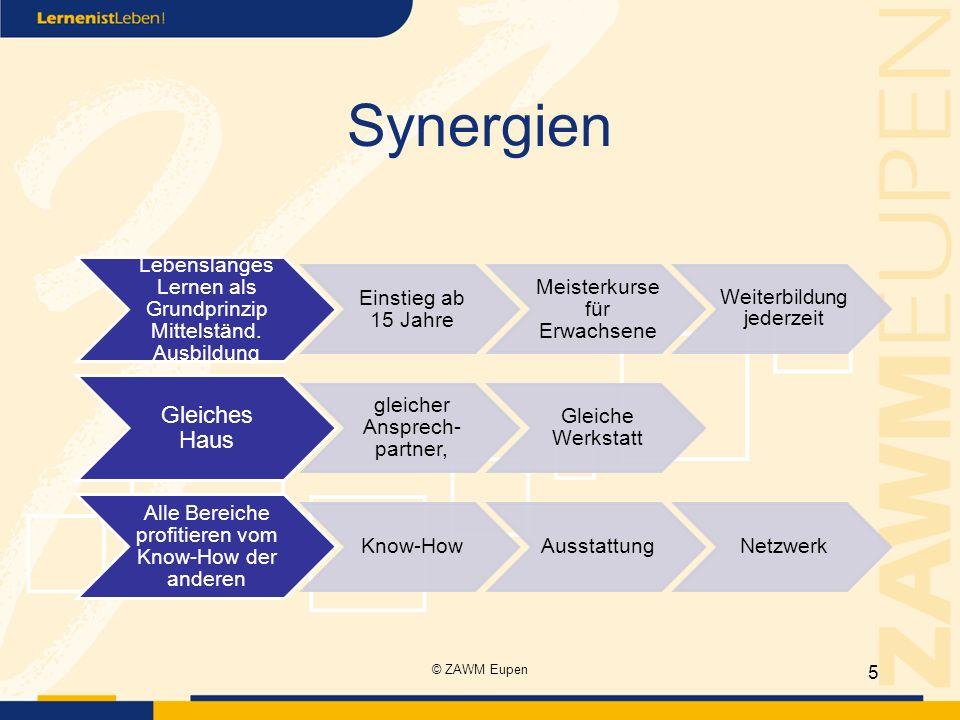 Synergien Lebenslanges Lernen als Grundprinzip Mittelständ. Ausbildung Einstieg ab 15 Jahre Meisterkurse für Erwachsene Weiterbildung jederzeit Gleich