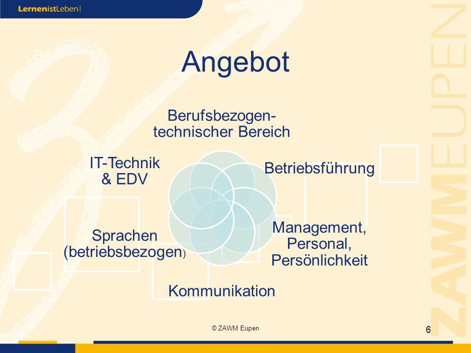 Angebot Berufsbezogen- technischer Bereich Betriebsführung Management, Personal, Persönlichkeit Kommunikation Sprachen (betriebsbezogen ) IT-Technik & EDV 6 © ZAWM Eupen