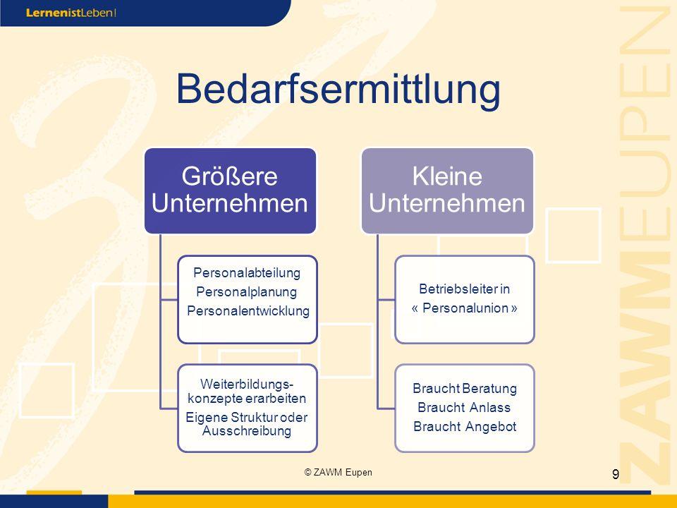Bedarfsermittlung Größere Unternehmen Personalabteilung Personalplanung Personalentwicklung Weiterbildungs- konzepte erarbeiten Eigene Struktur oder A