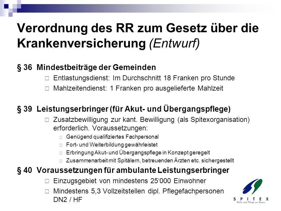 Verordnung des RR zum Gesetz über die Krankenversicherung (Entwurf) § 36 Mindestbeiträge der Gemeinden Entlastungsdienst: Im Durchschnitt 18 Franken p