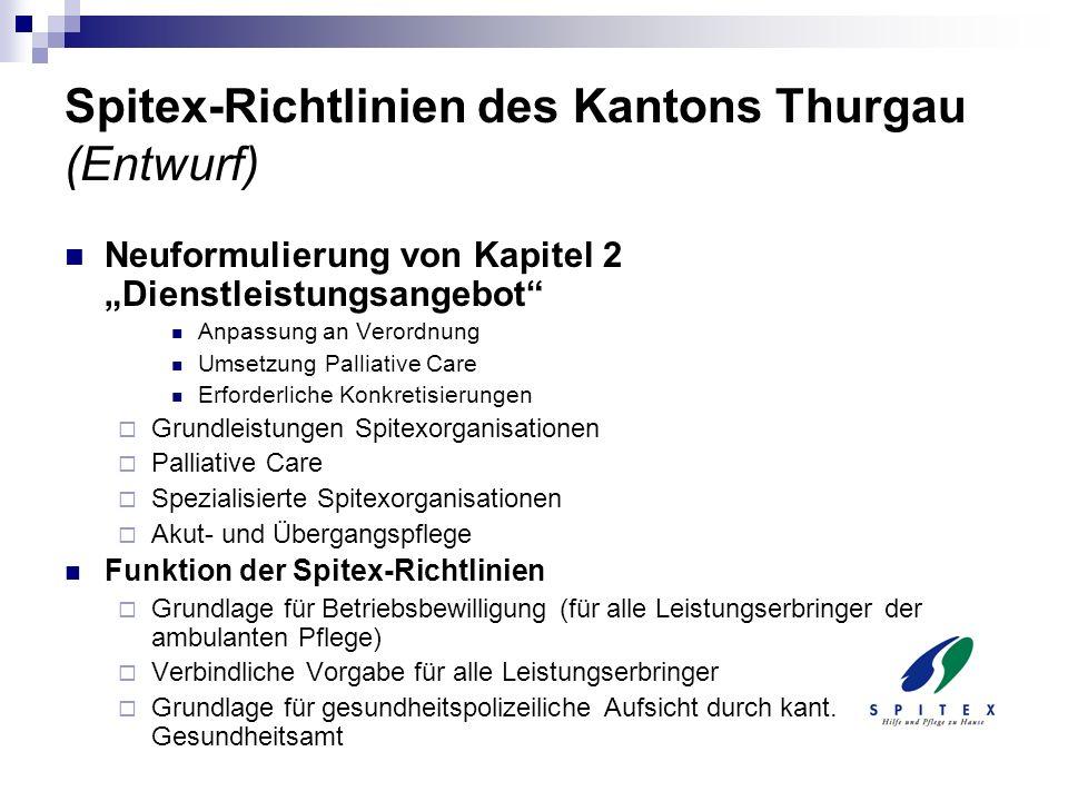 Spitex-Richtlinien des Kantons Thurgau (Entwurf) Neuformulierung von Kapitel 2 Dienstleistungsangebot Anpassung an Verordnung Umsetzung Palliative Car