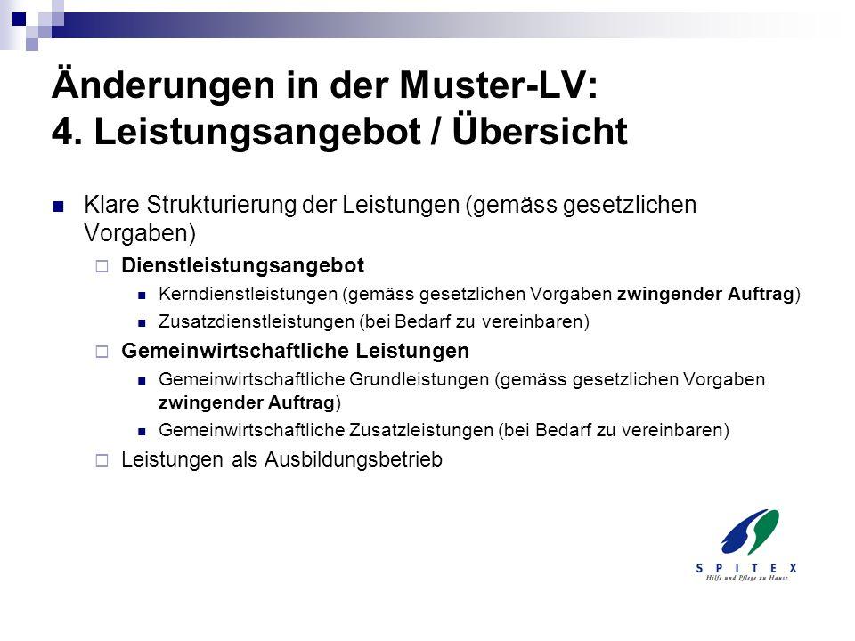 Änderungen in der Muster-LV: 4. Leistungsangebot / Übersicht Klare Strukturierung der Leistungen (gemäss gesetzlichen Vorgaben) Dienstleistungsangebot