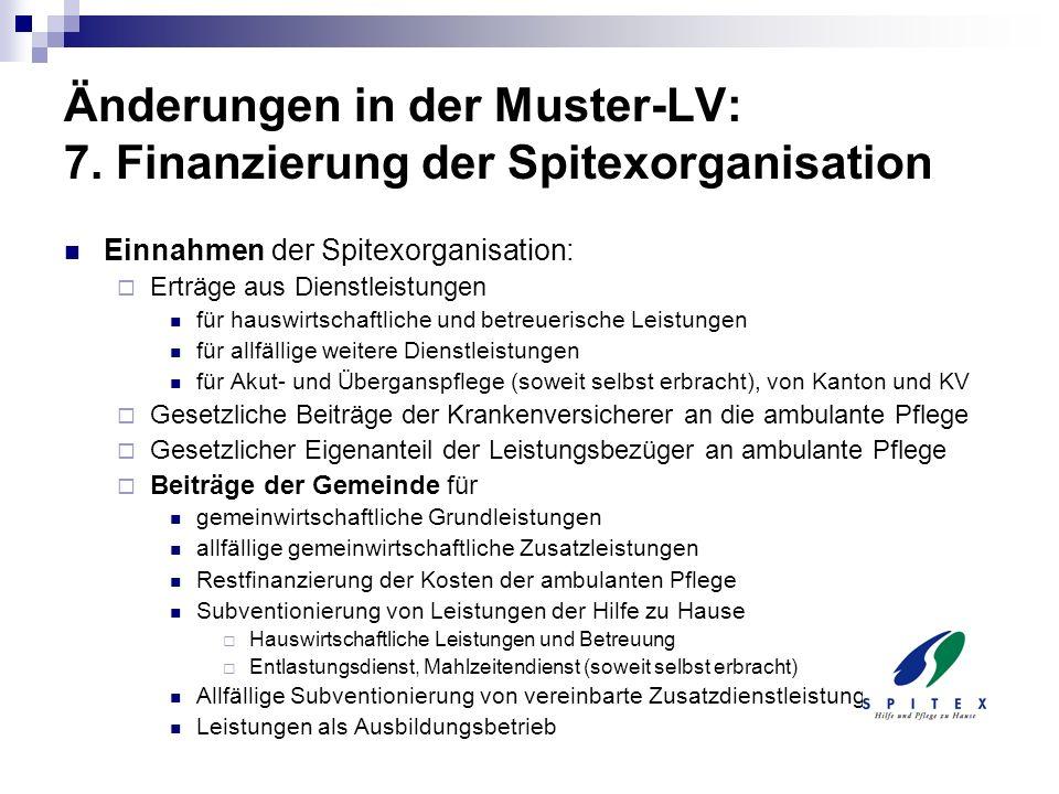 Änderungen in der Muster-LV: 7. Finanzierung der Spitexorganisation Einnahmen der Spitexorganisation: Erträge aus Dienstleistungen für hauswirtschaftl
