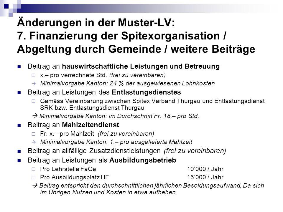 Änderungen in der Muster-LV: 7. Finanzierung der Spitexorganisation / Abgeltung durch Gemeinde / weitere Beiträge Beitrag an hauswirtschaftliche Leist