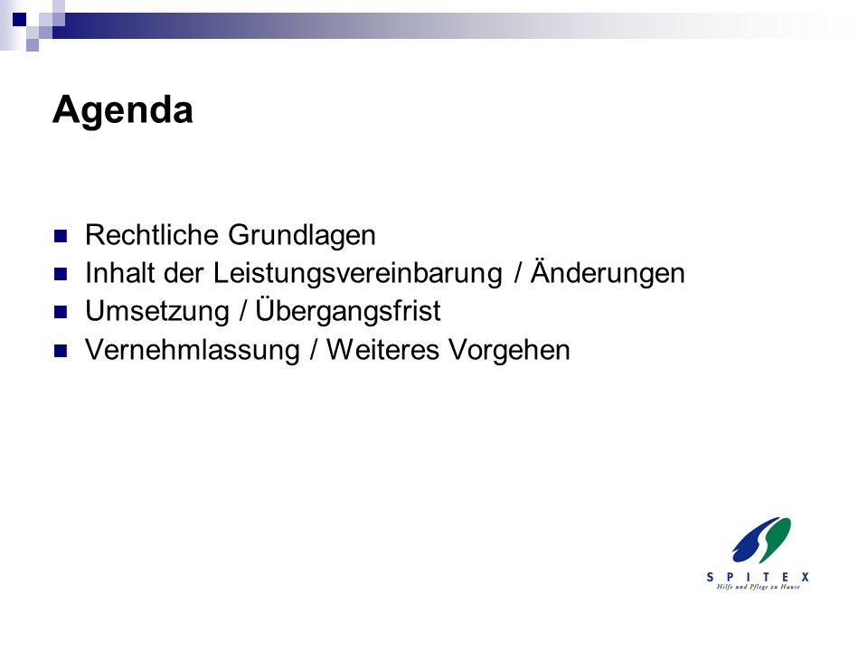 Muster-Leistungsvereinbarung Gemeinsame Empfehlung des VTG und des Spitex Verbandes Thurgau Regelt das Verhältnis zwischen Auftraggeber (Gemeinde) und Auftragnehmer (Spitexorganisation) Setzt die Vorgaben zur Leistungserbringung und zur Finanzierung um Anpassung an die veränderten gesetzlichen Vorgaben von Bund und Kanton