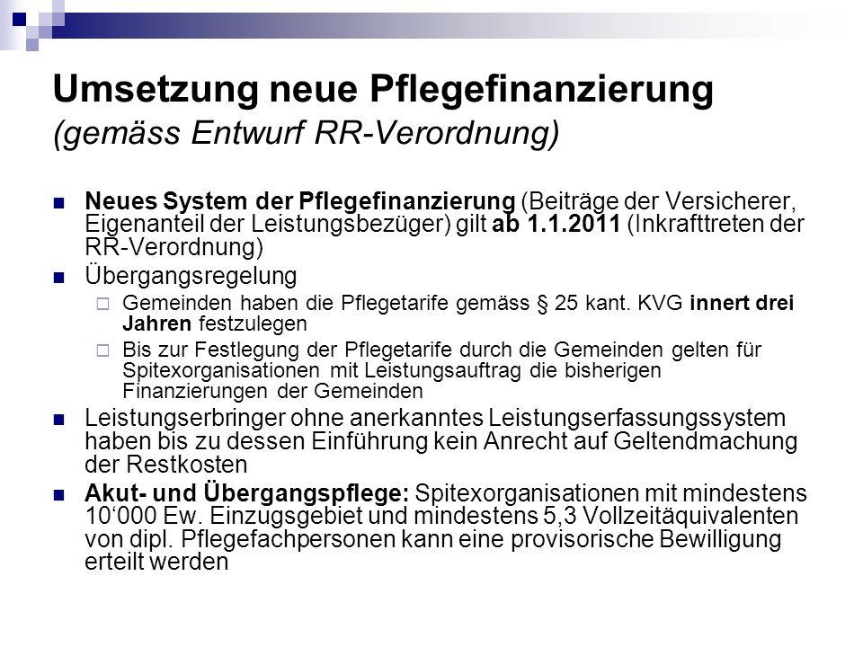 Umsetzung neue Pflegefinanzierung (gemäss Entwurf RR-Verordnung) Neues System der Pflegefinanzierung (Beiträge der Versicherer, Eigenanteil der Leistu