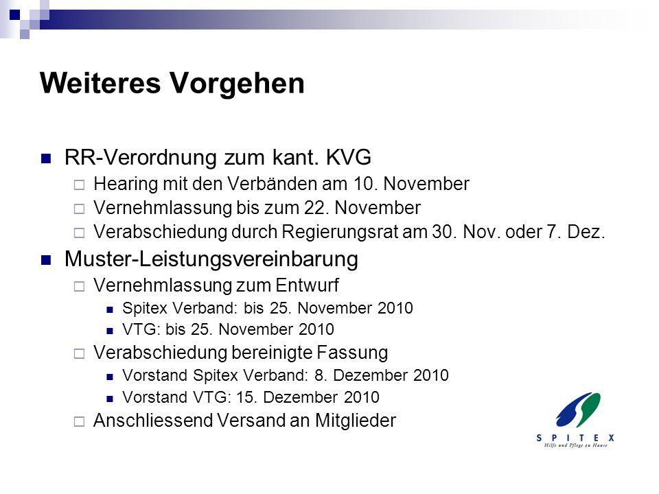 Weiteres Vorgehen RR-Verordnung zum kant. KVG Hearing mit den Verbänden am 10. November Vernehmlassung bis zum 22. November Verabschiedung durch Regie