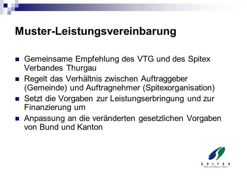 Muster-Leistungsvereinbarung Gemeinsame Empfehlung des VTG und des Spitex Verbandes Thurgau Regelt das Verhältnis zwischen Auftraggeber (Gemeinde) und