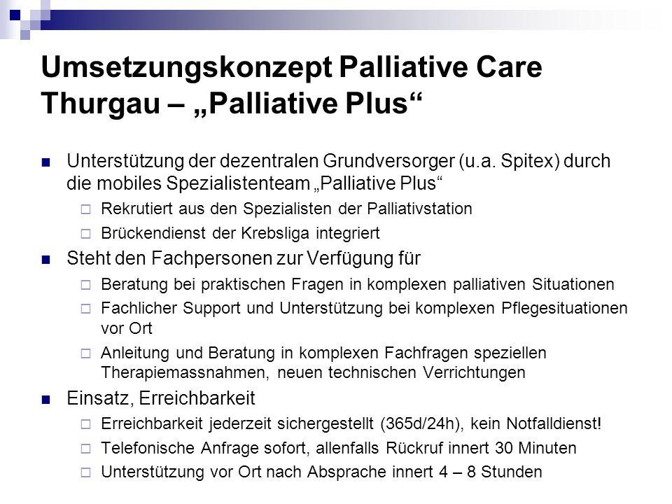 Umsetzungskonzept Palliative Care Thurgau – Palliative Plus Unterstützung der dezentralen Grundversorger (u.a. Spitex) durch die mobiles Spezialistent