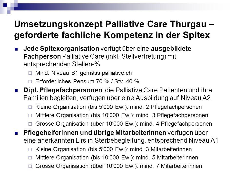 Umsetzungskonzept Palliative Care Thurgau – geforderte fachliche Kompetenz in der Spitex Jede Spitexorganisation verfügt über eine ausgebildete Fachpe
