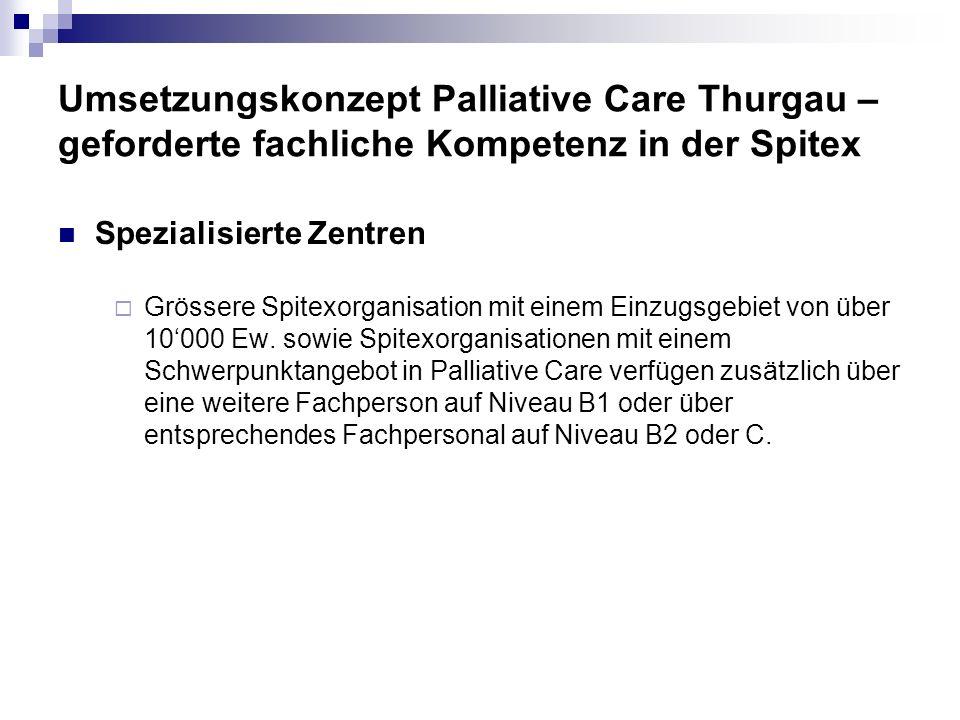 Umsetzungskonzept Palliative Care Thurgau – geforderte fachliche Kompetenz in der Spitex Spezialisierte Zentren Grössere Spitexorganisation mit einem