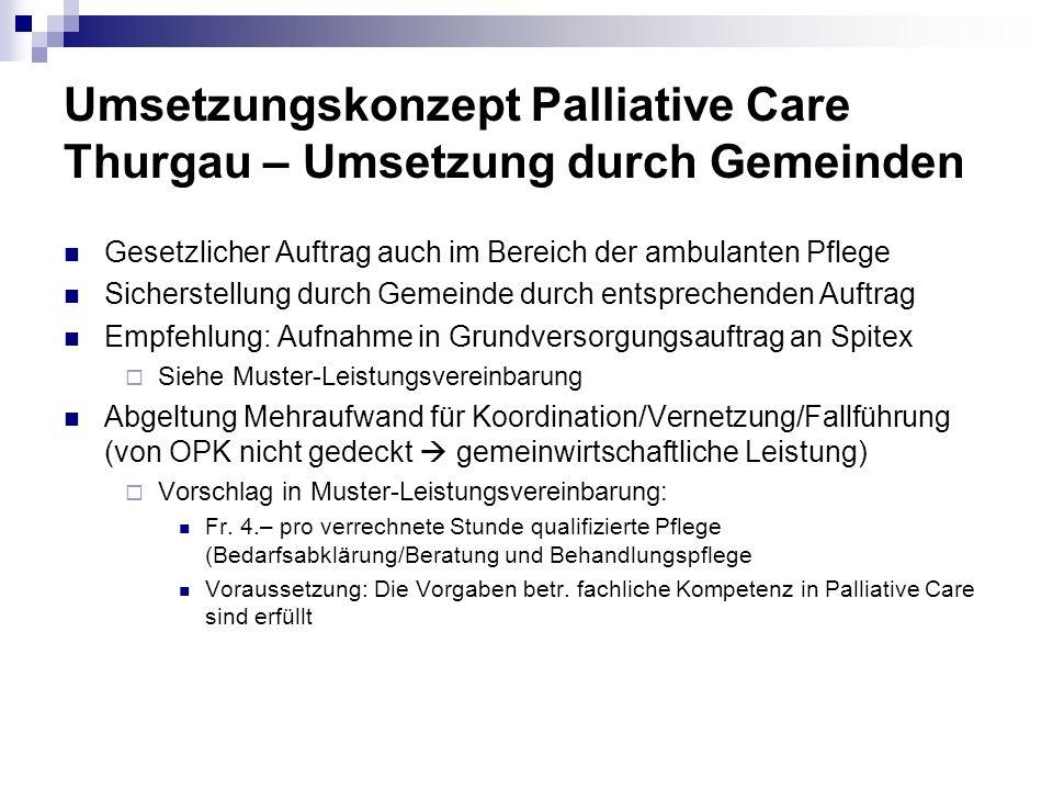 Umsetzungskonzept Palliative Care Thurgau – Umsetzung durch Gemeinden Gesetzlicher Auftrag auch im Bereich der ambulanten Pflege Sicherstellung durch