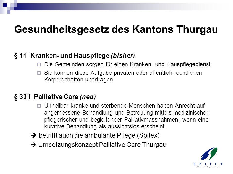 Gesundheitsgesetz des Kantons Thurgau § 11 Kranken- und Hauspflege (bisher) Die Gemeinden sorgen für einen Kranken- und Hauspflegedienst Sie können di