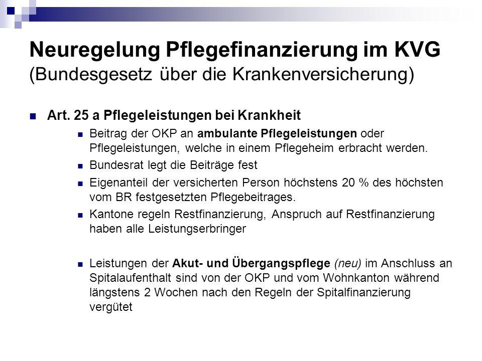 Neuregelung Pflegefinanzierung im KVG (Bundesgesetz über die Krankenversicherung) Art. 25 a Pflegeleistungen bei Krankheit Beitrag der OKP an ambulant