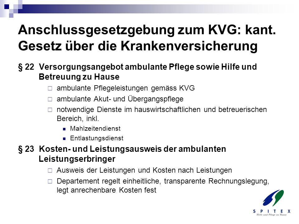 Anschlussgesetzgebung zum KVG: kant. Gesetz über die Krankenversicherung § 22 Versorgungsangebot ambulante Pflege sowie Hilfe und Betreuung zu Hause a