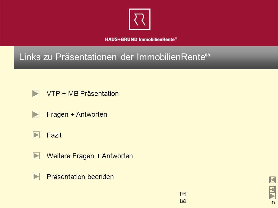 13 Links zu Präsentationen der ImmobilienRente ® VTP + MB Präsentation Fragen + Antworten Weitere Fragen + Antworten Präsentation beenden Fazit