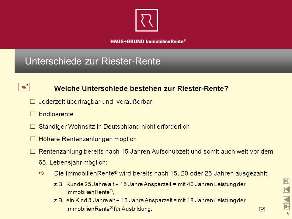 8 + Welche Unterschiede bestehen zur Riester-Rente? Jederzeit übertragbar und veräußerbar Endlosrente Ständiger Wohnsitz in Deutschland nicht erforder