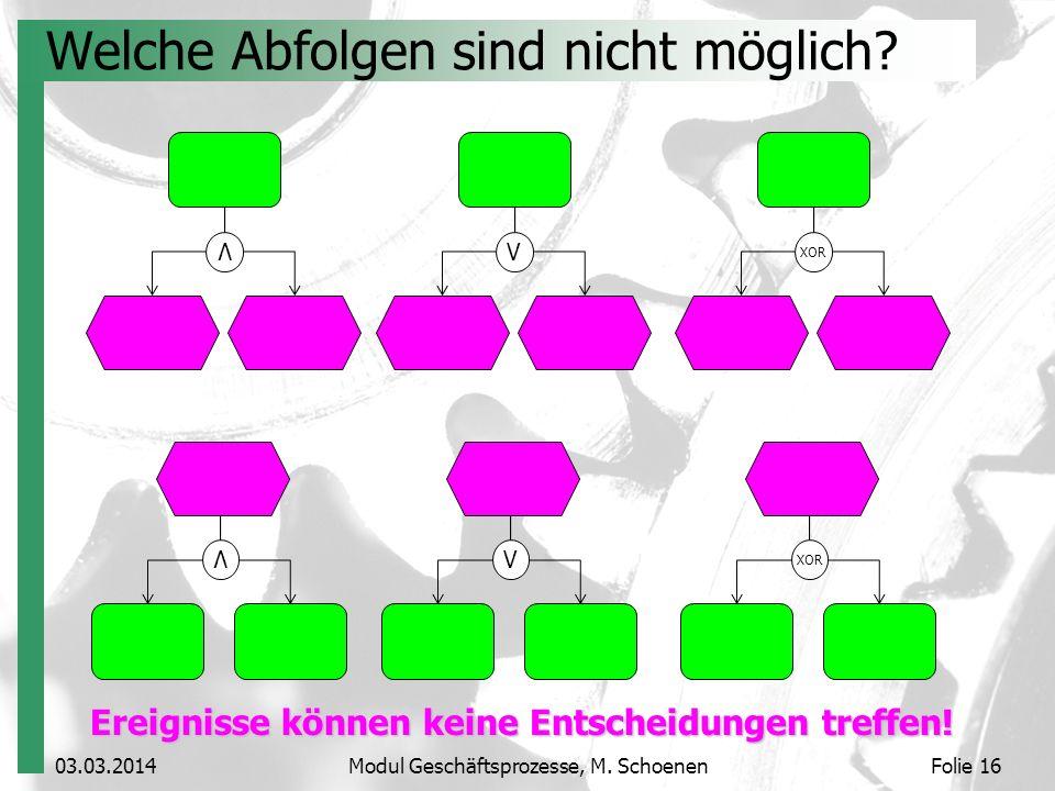 03.03.2014Modul Geschäftsprozesse, M. SchoenenFolie 16 Welche Abfolgen sind nicht möglich? V V XOR V V Ereignisse können keine Entscheidungen treffen!
