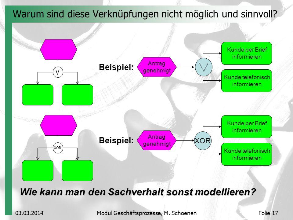 03.03.2014Modul Geschäftsprozesse, M. SchoenenFolie 17 Warum sind diese Verknüpfungen nicht möglich und sinnvoll? Wie kann man den Sachverhalt sonst m