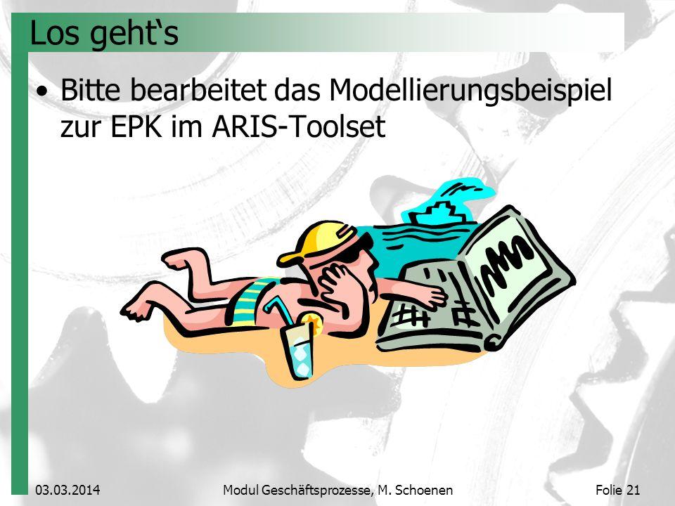 03.03.2014Modul Geschäftsprozesse, M. SchoenenFolie 21 Los gehts Bitte bearbeitet das Modellierungsbeispiel zur EPK im ARIS-Toolset