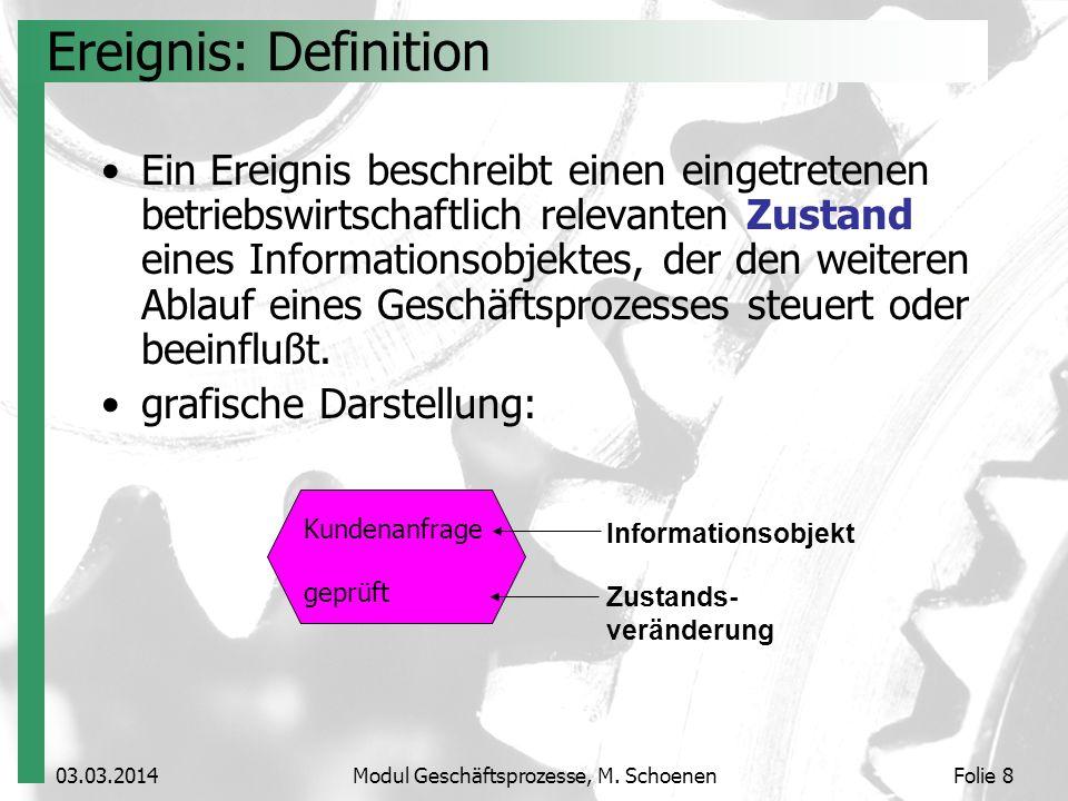 Kundenanfrage geprüft 03.03.2014Modul Geschäftsprozesse, M. SchoenenFolie 8 Informationsobjekt Zustands- veränderung Ereignis: Definition Ein Ereignis