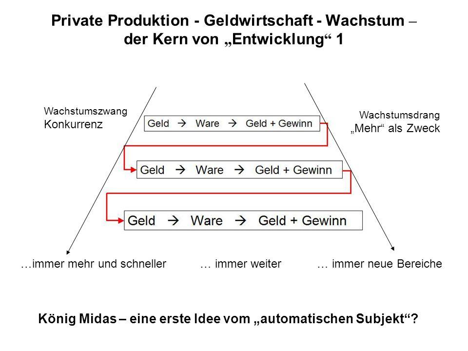 Private Produktion - Geldwirtschaft - Wachstum – der Kern von Entwicklung 1 …immer mehr und schneller… immer weiter… immer neue Bereiche Wachstumszwang Konkurrenz Wachstumsdrang Mehr als Zweck König Midas – eine erste Idee vom automatischen Subjekt?