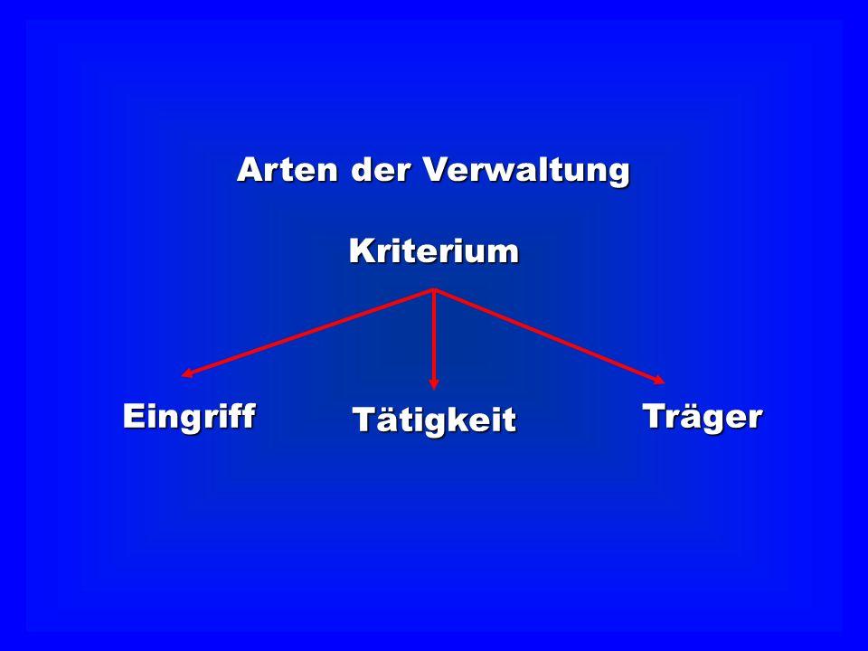 Arten der Verwaltung Kriterium Eingriff Tätigkeit Träger