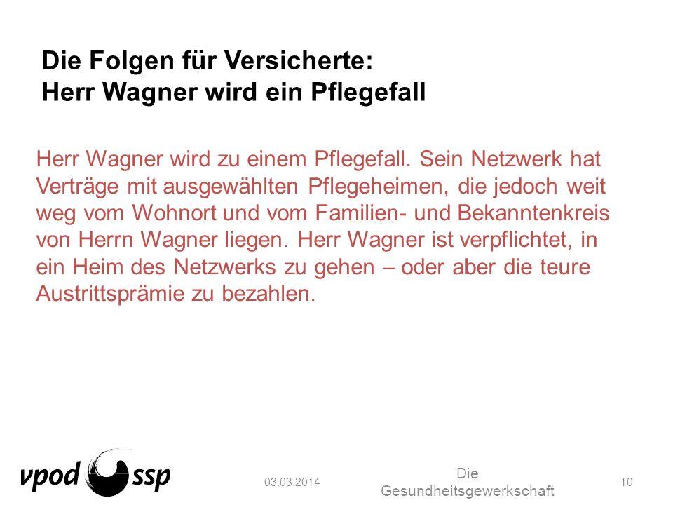03.03.2014 Die Gesundheitsgewerkschaft 10 Die Folgen für Versicherte: Herr Wagner wird ein Pflegefall Herr Wagner wird zu einem Pflegefall. Sein Netzw